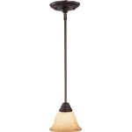 "Basix Collection 1-Light 6"" Oil Rubbed Bronze Mini Pendant with Wilshire Glass 85139WSOI"