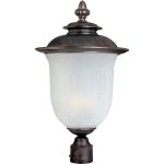 "Cambria Collection 1-Light 22"" Chocolate Outdoor Pier/Post Mount with Frost Crackle Glass 85191FCCH"