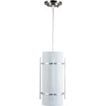 "Luna Collection 1-Light 7"" Brushed Metal Outdoor Hanging Light with White Glass 85213WTBM"