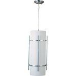 "Luna Collection 1-Light 9"" Brushed Metal Outdoor Hanging Light with White Glass 85214WTBM"