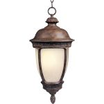 "Knob Hill Collection 1-Light 13"" Sienna Outdoor Hanging Light with Snow Flake Glass 85468SFSE"