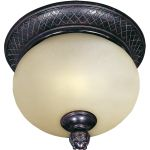 "Carriage House Collection 2-Light 12"" Oriental Bronze Outdoor Ceiling Light with Mocha Glass 85529MOOB"