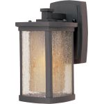 "Bungalow Collection 1-Light 5"" Bronze Outdoor Wall Light with Seedy/Wilshire Glass 85652CDWSBZ"