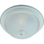"Flush Mount Collection 1-Light 11"" Textured White Flush Mount with Frosted Glass 85830FTTW"