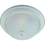 "Flush Mount Collection 2-Light 13"" Textured White Flush Mount with Frosted Glass 85831FTTW"