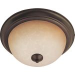 "Flush Mount Collection 3-Light 15"" Oil Rubbed Bronze Flush Mount with Wilshire Glass 85842WSOI"