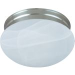 "Essentials Collection 2-Light 9"" Satin Nickel Flush Mount with Marble Glass 85885MRSN"