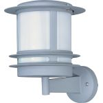 "Zenith Collection 1-Light 9"" Platinum Outdoor Wall Light with White Glass 86194WTPL"