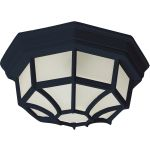 "Flush Mount Collection 1-Light 11"" Black Outdoor Ceiling Light with Frosted Glass 87920BK"