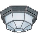 "Flush Mount Collection 1-Light 11"" Rust Patina Outdoor Ceiling Light with Frosted Glass 87920RP"