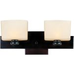 "Essence Collection 2-Light 14"" Oil Rubbed Bronze Vanity with Dusty White Glass 9002DWOI"
