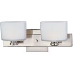 "Essence Collection 2-Light 14"" Satin Nickel Vanity with Satin White Glass 9002SWSN"