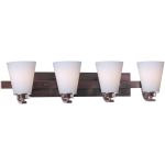 "Conical Collection 4-Light 26"" Oil Rubbed Bronze Vanity with Satin White Glass 9014SWOI"