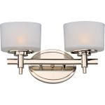 "Lola Collection 2-Light 13"" Polished Nickel Vanity with Satin White Glass 9022SWPN"
