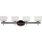"Lola Collection 4-Light 30"" Oil Rubbed Bronze Vanity with Dusty White Glass 9024DWOI"
