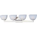 "Angle Collection 4-Light 29"" Satin Nickel Vanity with Satin White Glass 9034SWSN"