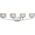 "Elle Collection 4-Light 29"" Polished Chrome Vanity with Frosted Glass 9044FTPC"