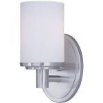 "Cylinder Collection 1-Light 4"" Satin Nickel Vanity with Satin White Glass 9051SWSN"