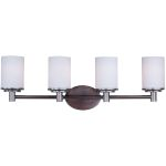 "Cylinder Collection 4-Light 29"" Oil Rubbed Bronze Vanity with Satin White Glass 9054SWOI"
