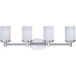 "Cylinder Collection 4-Light 29"" Satin Nickel Vanity with Satin White Glass 9054SWSN"