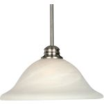 "Essentials Collection 1-Light 12"" Satin Nickel Pendant with Marble Glass 91061MRSN"