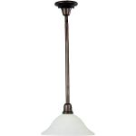 "Bel Air Collection 1-Light 41"" Oil Rubbed Bronze Pendant with Soft Vanilla Glass 91062SVOI"