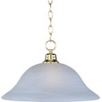 "Essentials Collection 1-Light 11"" Polished Brass Pendant with Marble Glass 91076MRPB"