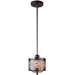 "Mondrian Collection 1-Light 13"" Umber Bronze Mini Pendant 91150WHUB"
