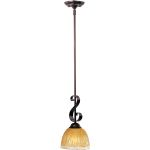 "Barcelona Collection 1-Light 15"" Oil Rubbed Bronze Mini Pendant with Amber Ice Glass 91412AIOI"