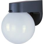 "Side Door Collection 1-Light 6"" Black Outdoor Wall Light with White Glass 92003BK"