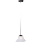 "Aurora Collection 1-Light 10"" Oil Rubbed Bronze Mini Pendant with Frosted Glass 92090FTOI"