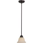 "Manor Collection 1-Light 7"" Oil Rubbed Bronze Mini Pendant with Frosted Ivory Glass 92200FIOI"