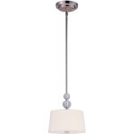 "Rondo Collection 1-Light 9"" Polished Nickel Mini Pendant with White Fabric Shade 92750WTPN"
