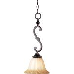 "Allentown Collection 1-Light 17"" Oil Rubbed Bronze Mini Pendant with Wilshire Glass 93505WSOI"