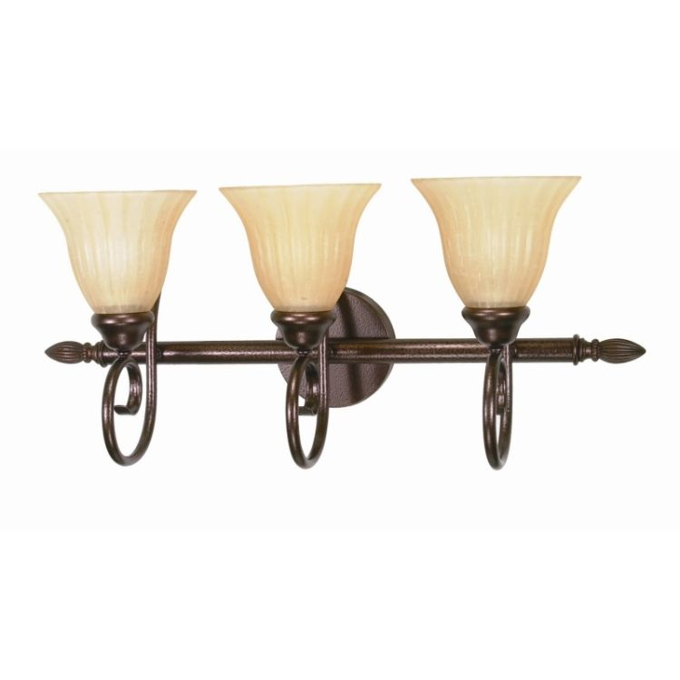 Moulan collection 3 light 11 copper bronze vanity with - Champagne bronze bathroom vanity light ...