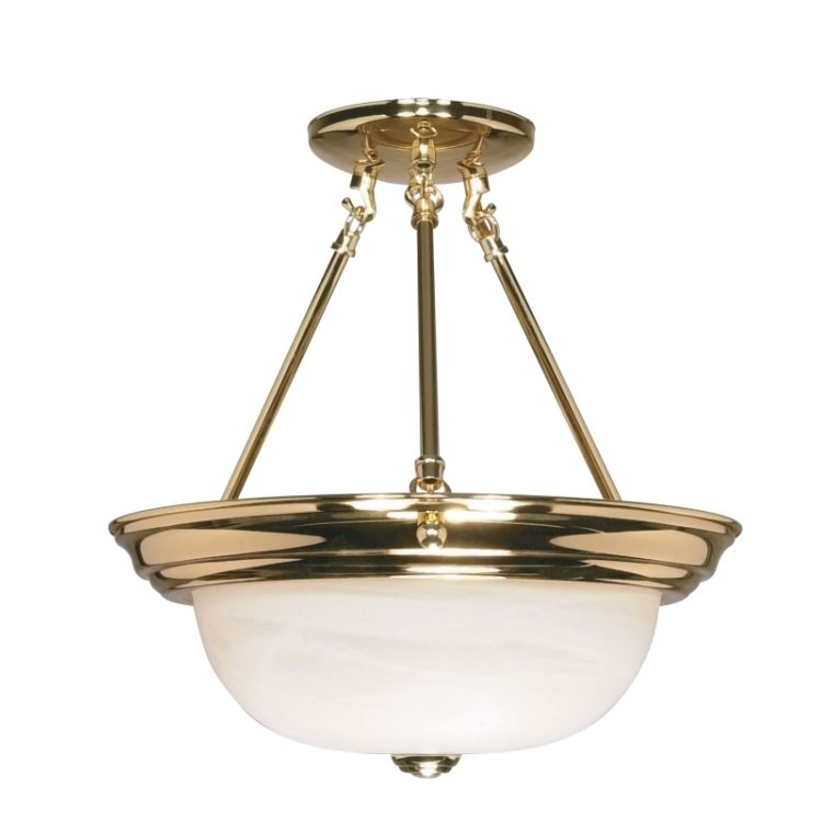 Nuvo Collection 2 Light 14 Polished Brass Semi Flush