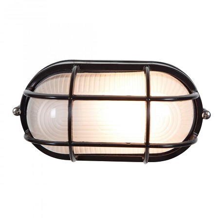 Black / Frosted Single Light Outdoor Wall Sconce From The Nauticus Collection