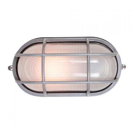 Nauticus Collection 1-Light Satin Outdoor Bulkhead Fixture with Frosted Glass 20292-SAT/FST