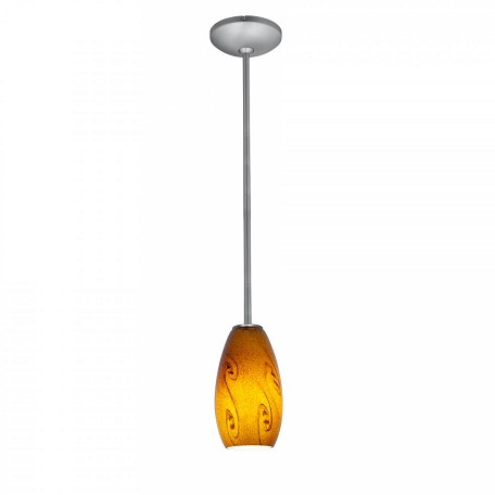 "Sydney Inari Silk Collection 3"" 1-Light Brushed Steel Pendant with Amber Sky Glass 28011-1R-BS/ASKY"