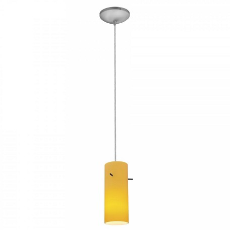 "Sydney Inari Silk Collection 4"" 1-Light Brushed Steel Pendant with Amber Glass 28030-1C-BS/AMB"