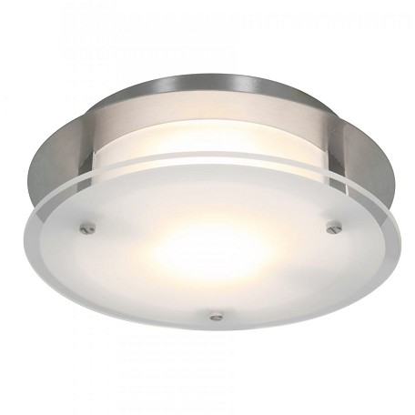 Brushed Steel / Frosted Visionround 1 Light Flush Mount Ceiling Fixture
