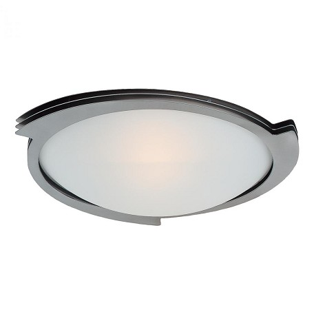 Brushed Steel / Frosted Triton 1 Light Flush Mount Ceiling Fixture