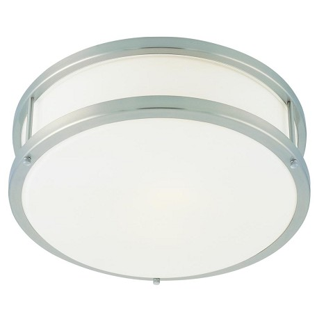 "Conga Collection 12"" 1-Light Brushed Steel Flush Mount with Opal Glass 50079-BS/OPL"