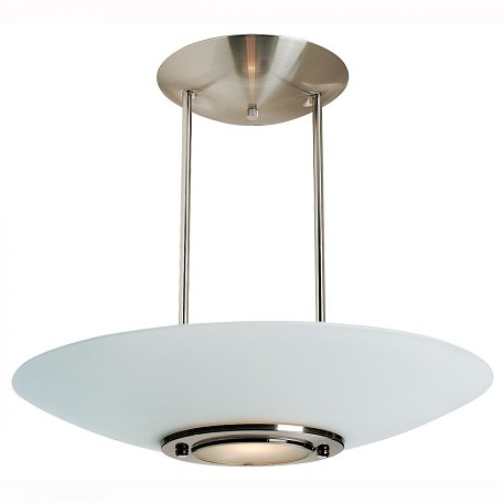 Brushed Steel / Frosted Argon 1 Light Semi Pendant