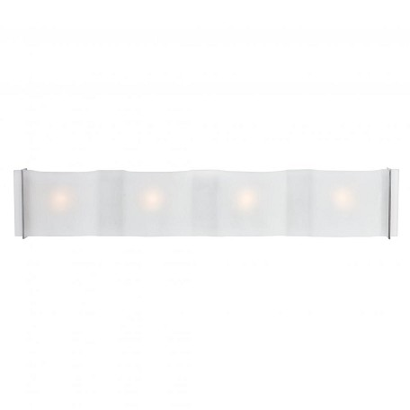 Brushed Steel / Frosted Four Light Ambient Lighting 29In. Wide Bathroom Fixture From The Mercury Collection