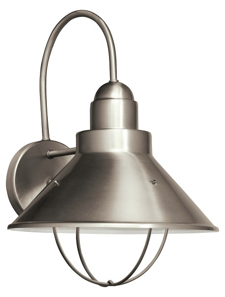 Brushed Nickel Seaside 1 Light 14in. Energy Efficient Fluorescent Outdoor Wall Light