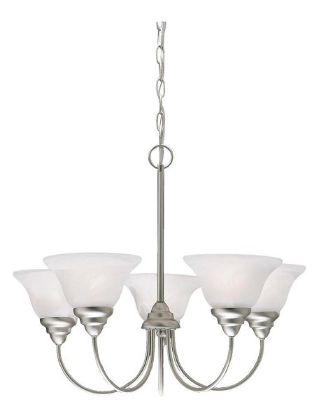 Brushed Nickel Telford Single-Tier  Chandelier with 5 Lights - 72in. Chain Included - 24 Inches Wide