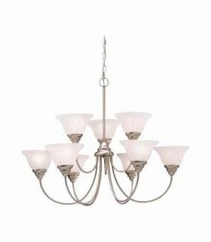Brushed Nickel Telford Single-Tier  Chandelier with 9 Lights - 72in. Chain Included - 34 Inches Wide
