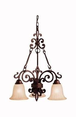 Kichler Three Light Carre Bronze Down Chandelier - 2088CZ