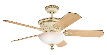 Aged White Larissa 52in. Indoor Ceiling Fan with 5 Blades - Includes Cool-Touch Remote, Light Kit, 6in. Downrod